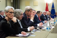 U.S. Secretary of State John Kerry sits with his counterparts from Germany, China, the European Union, France, the United Kingdom, and Russia on March 30, 2015, in Lausanne, Switzerland, before the P5+1 partner nations resume direct negotiations with Iranian officials about the future of their country's nuclear program. [State Department Photo / Public Domain]