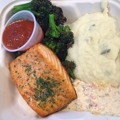 Salmon with Wild mushroom sauce plus Sriracha
