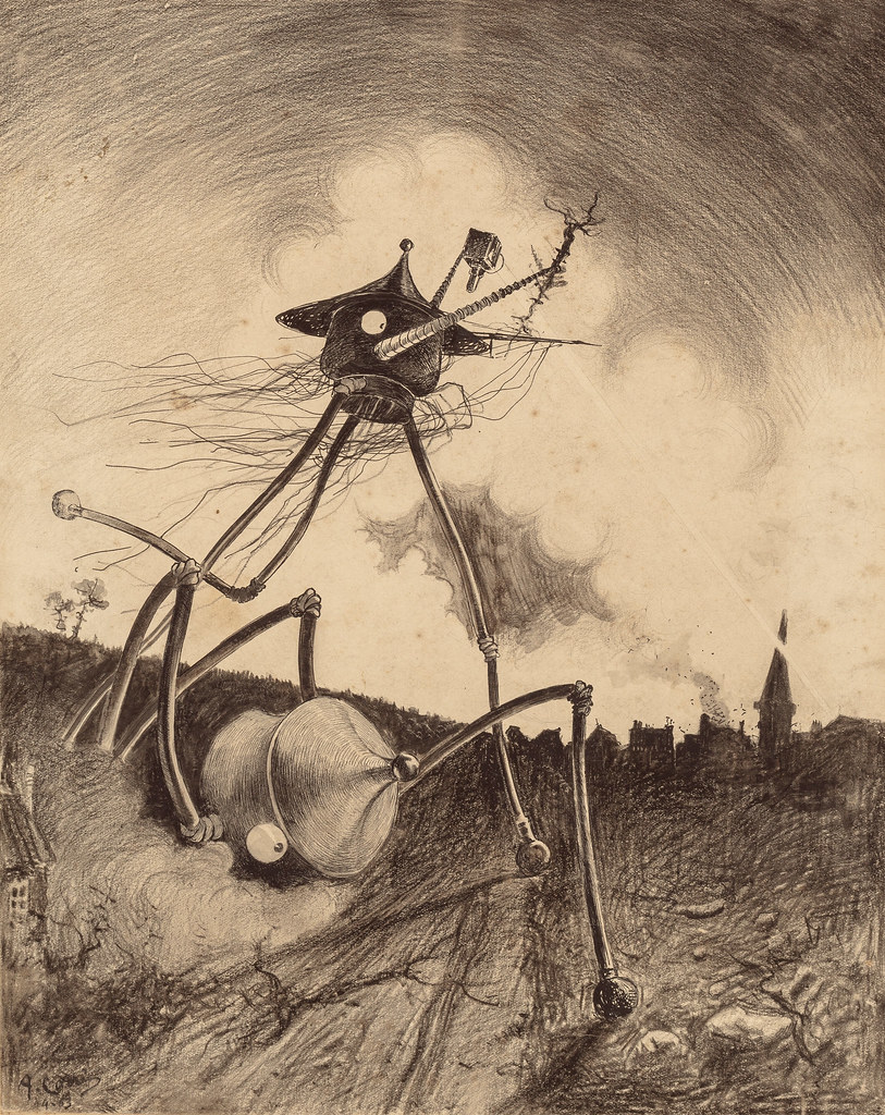 "HENRIQUE ALVIM CORRÊA - Martians on the Move, from The War of the Worlds, Belgium edition, 1906 (illustration is featured in Book I- The Coming of the Martians, Chapter XII- ""What I Saw of the Destruction of Weybridge and Shepperton,"")"