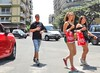 Macedonia, Thessaloniki, teen girls in shorts after heroic shopping, Greece #Μacedonia