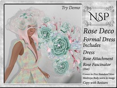 NSP Rose Deco Formal Dress with Hat - Pastel