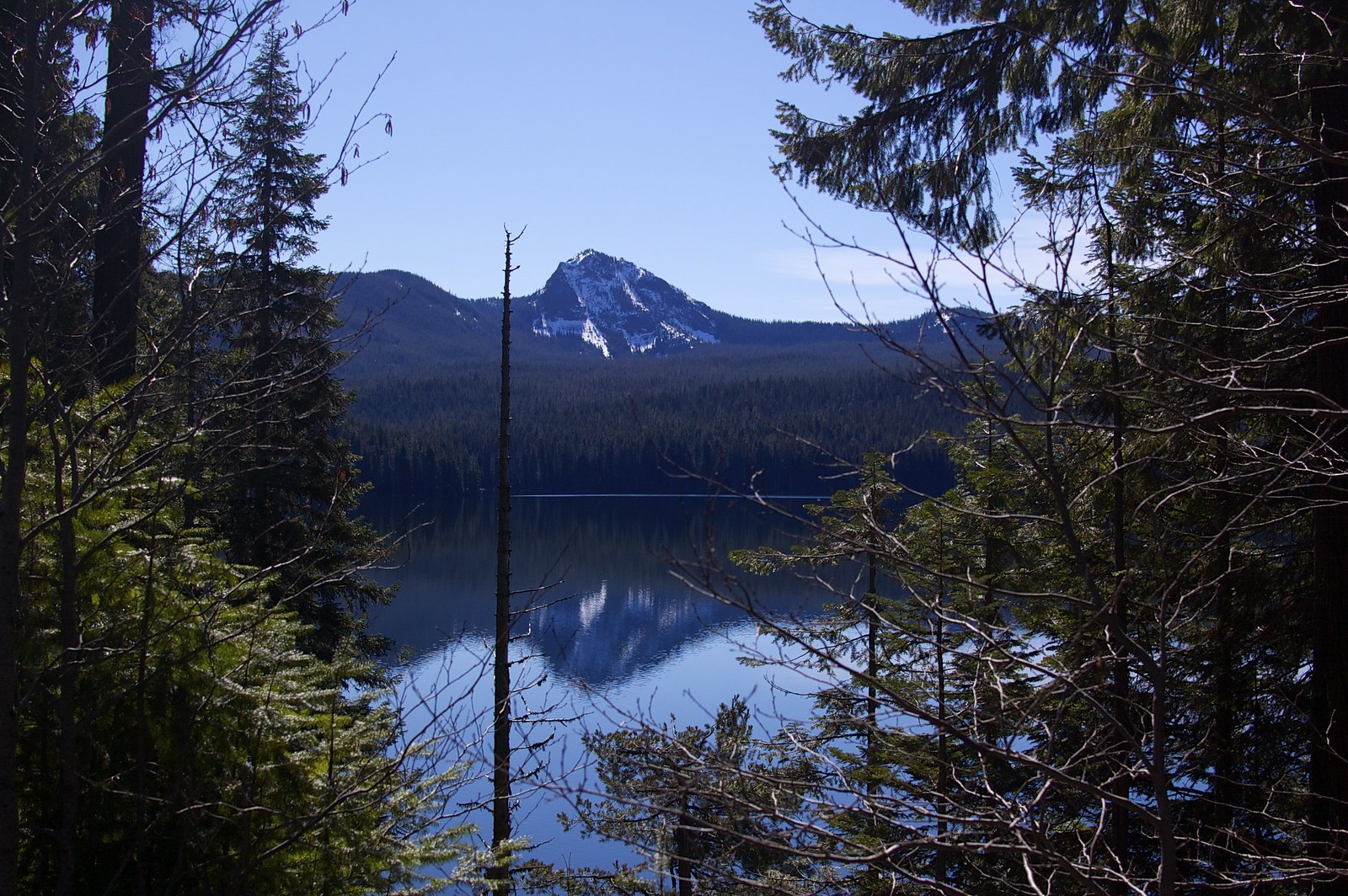 Mountain over a lake along highway 58