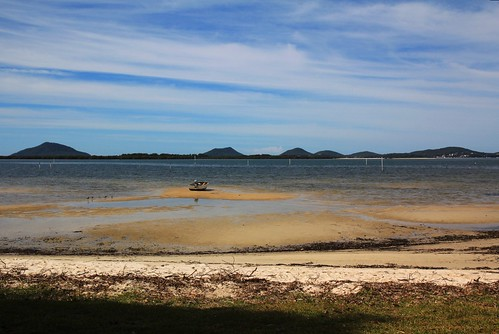 View Across Port Stephens from Beach at Wombo St, North Pindimar Tea Gardens 17.4.15