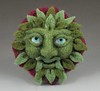 Greenman needle felted brooch