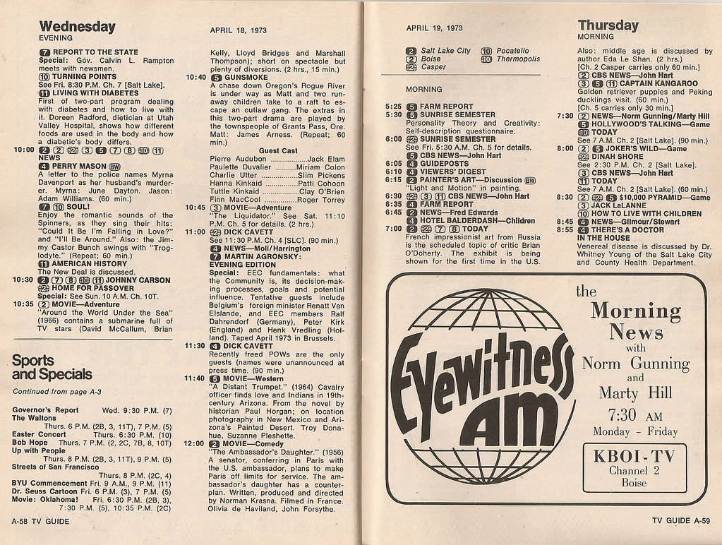 Retrospace Tv Guide 1 April 14 20 1973