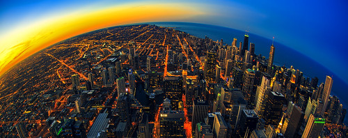 city urban panorama usa chicago night america canon eos us illinois midwest cityscape view sigma lakemichigan fisheye american 15mm ville nightfall 6d eos6d