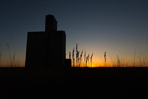 sunset grass silhouette landscape alberta grainelevator innisfail paulhowardphotography