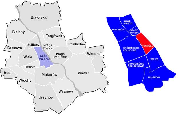 Carte de Powisle à Varsovie