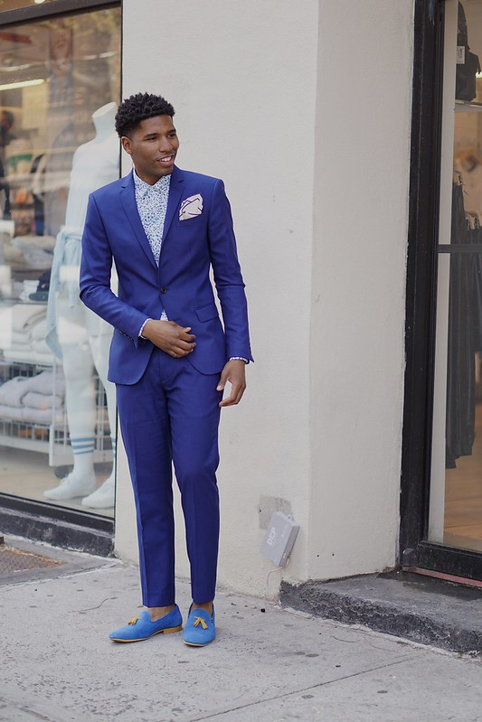 Blue Suit w/ Suede Slipper for Spring/Summer Style