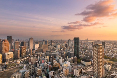 city sunset japan canon view osaka