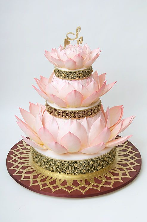 Pink Lotus Wedding Cake by Ron Ben-Israel