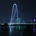 Dallas' Margaret Hunt Bridge shining in the night