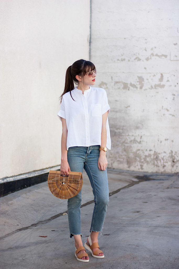 Topshop Stepped Hem Jeans, Everlane Linen Shirt, Cult Gaia Ark