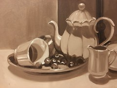 Monochromatic oil still life, 2012