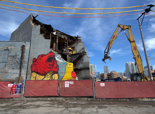 recent street art, demolition of 500 - 508 North Milwaukee Avenue
