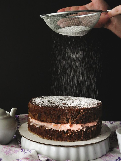 Cold Brew Coffee Cake with a Strawberry-Grapefruit Buttercream
