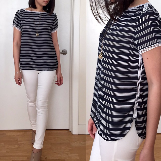 LOFT Striped Ladder Lace Tee, size XSP