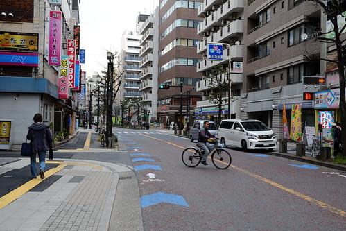 A bit of blue bike lane on historic Old Tokaido