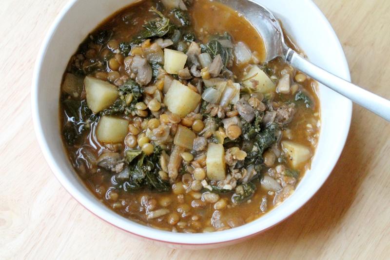 5:2 Sausage, Lentil, & Kale Stew (207 calories)