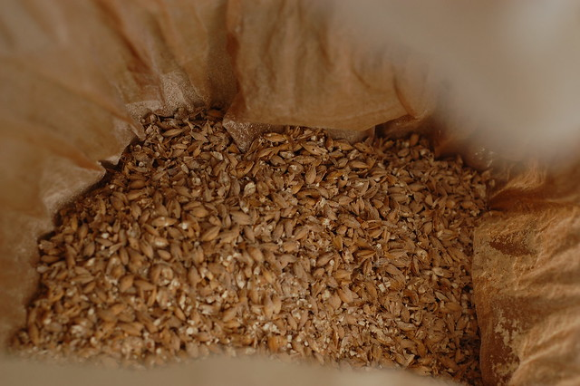 Crushed malt grains in a bag