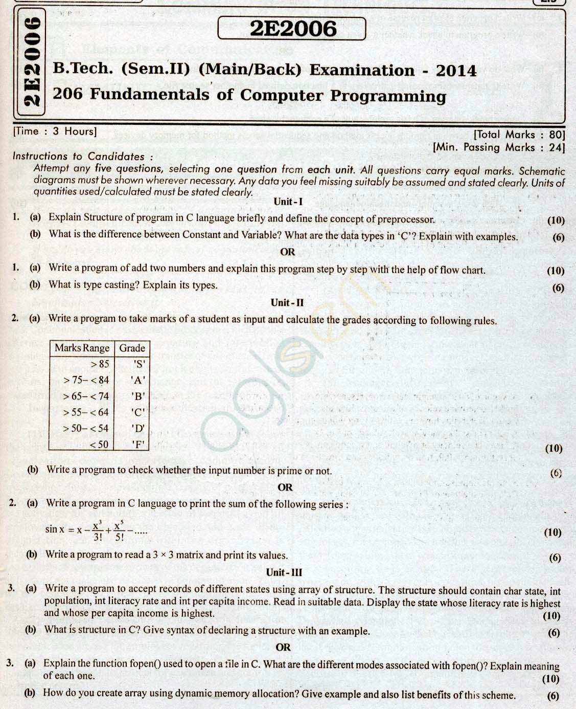 RTU: Question Papers 2014 - 2 Semester - All Branches - 2E2006