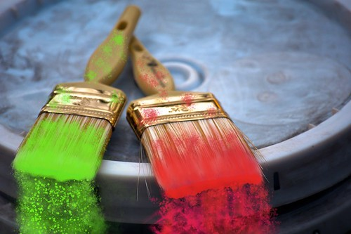 Paint Brushes Neon Electric