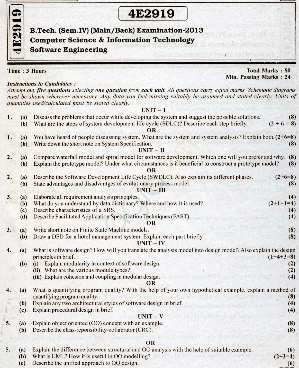 RTU: Question Papers 2013 - 4 Semester - CS & IT - 4E2919