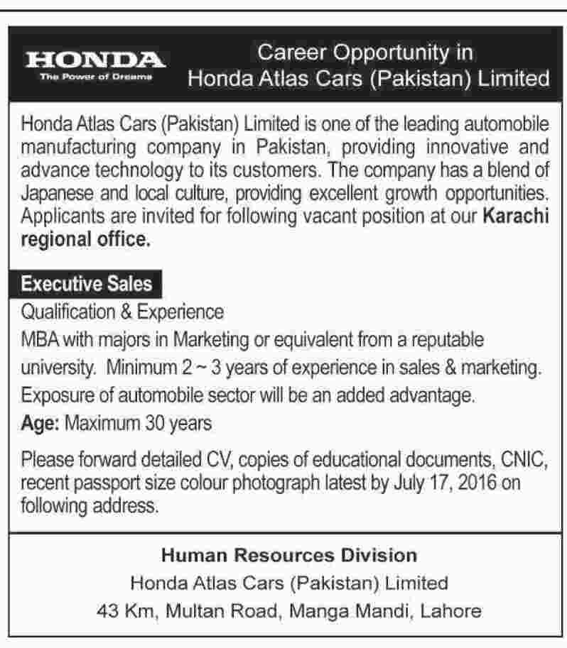 Honda Atlas Cars Pakistan Jobs