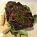 N.Y. STRIP STEAK steamed broccoli, baby corn & green curry chimichurri