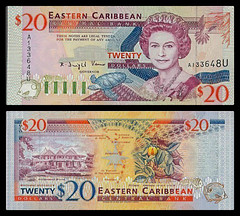 (XCD5c) 1994  Eastern Caribbean States, Anguilla, Eastern Caribbean Central Bank, Twenty  Dollars (A/R)...