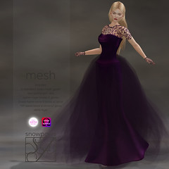 Snowpaws - Guipure Violet Gown with appliers