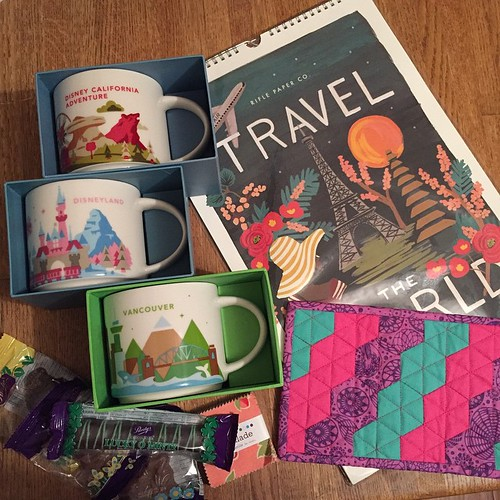 82:365 Best mail day ever!! I think I found the last @riflepaperco travel calendar in existence. My #starbucksmugrugswap package arrived. Thanks partner!! And super big hugs & kisses to @elisabew for the awesome Disneyland mugs!!