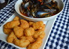 Scottish Mussels in Tomato & Chorizo Sauce, Whitby Battered Scampi & Prawn