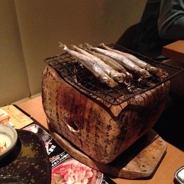 Smelt, served on a mini grill