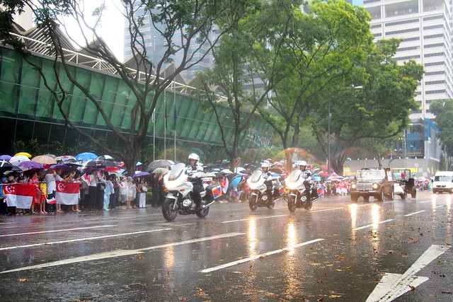 State Funeral Procession for Lee Kuan Yew in heavy rain along Shenton Way, 29 March 2015