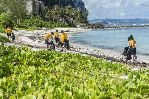 Sailors Help Clean Up the Beaches in Guam