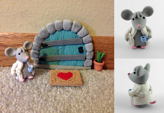 mouse door plant and door mat - polymer clay : clay door - pezcame.com