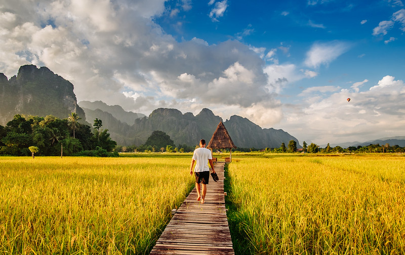 Boardwalk between rice fields in Vang Vieng, Laos
