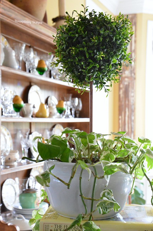 Faux topiary in live plant-Housepitality Designs