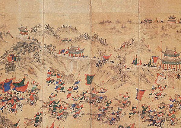 Chinese cavalry and infantry attacking the walls of Pyongyang, from a Chinese painted screen