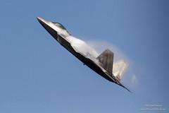 airliner(0.0), northrop grumman b-2 spirit(0.0), bomber(0.0), lockheed martin f-22 raptor(1.0), aviation(1.0), airplane(1.0), wing(1.0), vehicle(1.0), fighter aircraft(1.0), jet aircraft(1.0), flight(1.0), air force(1.0),
