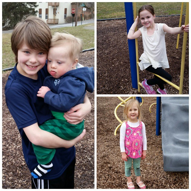 When it's 65 degrees, we go to  the park. Even in the rain!