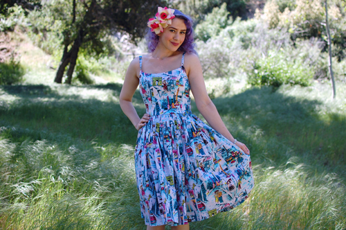 Pinup Girl Clothing Jenny dress in Paris print 015