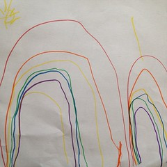 She did draw a #doublerainbow. AND the #sun. #kindyart #rainbow.