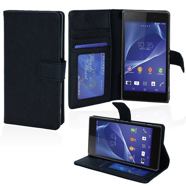 Sony-Xperia-Z2-Flip-Stand-Wallet-Case-Black