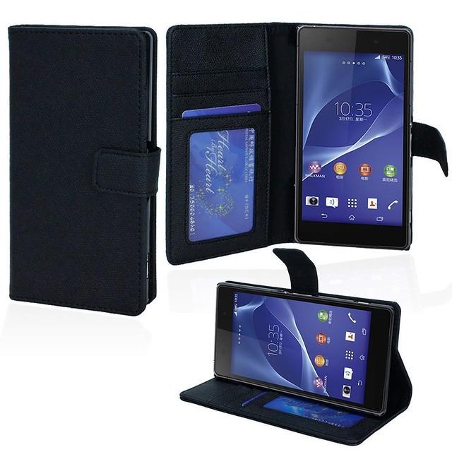 Sony-Xperia-Z2-Flip-Stand-Wallet-Case-Black