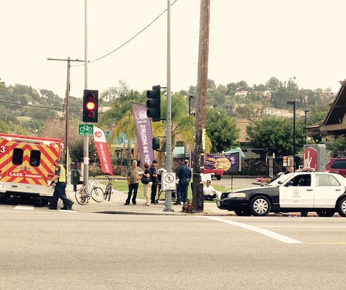 Car crash into pedestrian and cyclist at Avenue 43 and North Figueroa Street