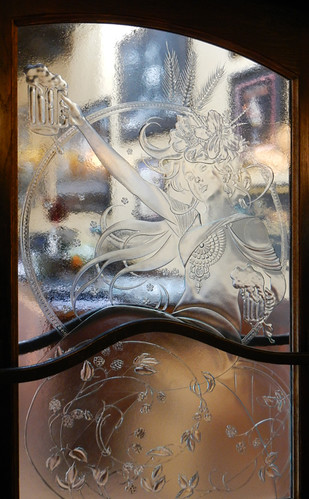 Art Nouveau Glass Door at Six Mile Pub in Victoria