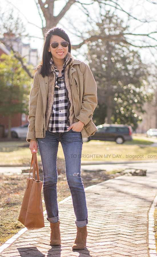 khaki jacket, fur vest, buffalo checked top, brown suede ankle boots