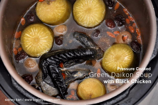 Pressure Cooked Green Daikon Soup with Black Chicken